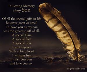 In Loving Memory Of My Son