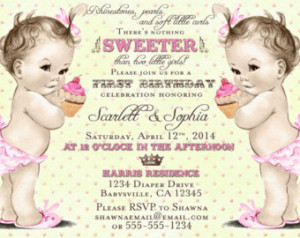 Twin Girls First Birthday Invitatio n - 1st Birthday Twins - We ...