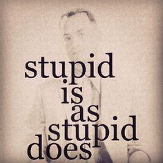 Stupid is as stupid does.