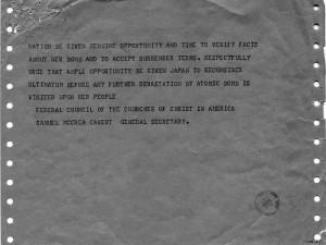Telegram from Samuel Cavert to Harry Truman regarding the use of ...