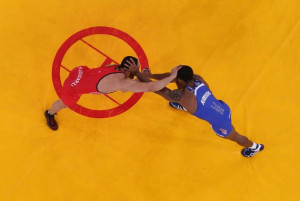 Jordan Burroughs closes in on the gold. (Getty Images)