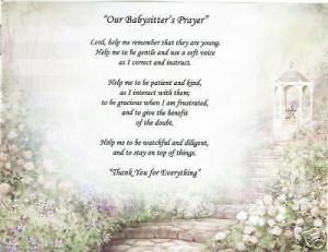 BABYSITTER Prayer Poem DayCare Child Personalized Name