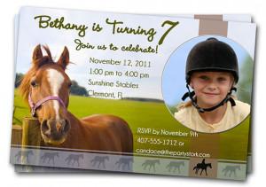 Horse Birthday Party Invitations: Printable Girls or Boys Invitation ...