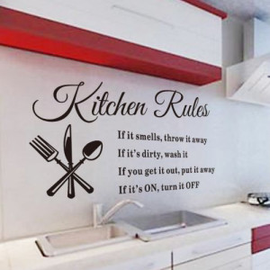 Quotes-Wall-Sticker-Kitchen-rules-Wall-Stickers-Sayings-And-Phrase ...