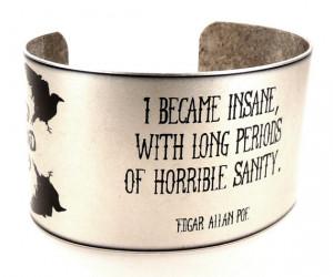 Edgar Allan Poe Quote Cuff, literary jewellery, Poe Quotes