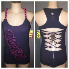 ZUMBA FITNESS NWT PoP Racer Back LARGE INDIGO Customized Back Design ...