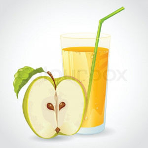 glass of fresh apple juice and half of green apple with leaf isolated ...
