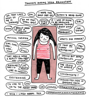 An illustration by Gemma Correll - a girl lies on a yoga mat with ...