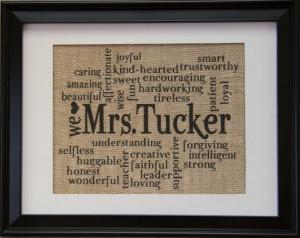 Teacher Gift , Teachers Name on Burlap , Burlap Print with Teachers ...