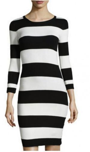 Striped black and white H & M dress
