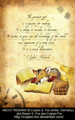 Quote: Elizabeth Hardwick on reading. Image: 'About Reading' © Culpeo ...