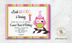 Look Whoo is Turning One Owl Birthday Invitation First Birthday