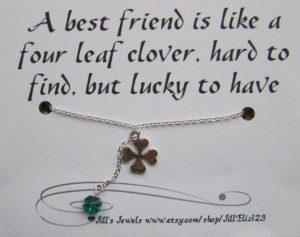 Lucky Charm Necklace and Friendship Quote Inspirational Card ...