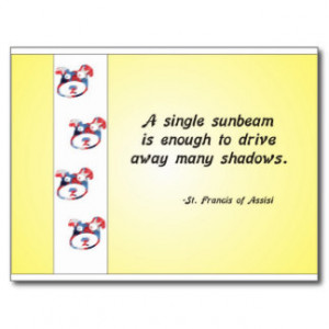 Volunteer Appreciation Dog Face and Sunbeam Quote Postcard