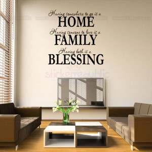 Home Family Blessing Word and Quote Removable Wall Stickers