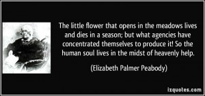 The little flower that opens in the meadows lives and dies in a season ...