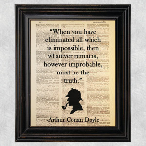 Improbable Truth Quote, Sherlock Holmes,Dictionary Art Print, Printed ...