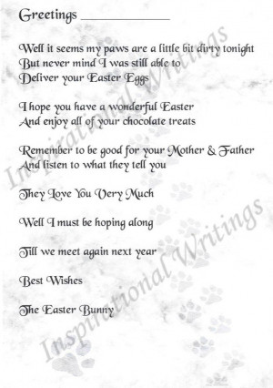 Cute Note from the Easter Bunny