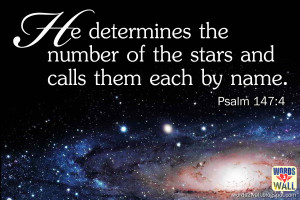 He determines the number of the stars and calls them each by name.