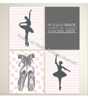 ... ballerina, quotes for nursery, ballerina slippers, polka dot, Set of 4