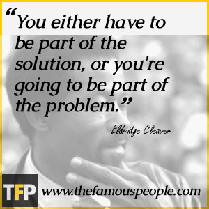 You're either part of the solution or you're part of the problem.