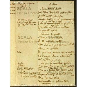 Giacomo Leopardi, manoscritto di