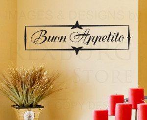 Wall-Decal-Art-Sticker-Quote-Vinyl-Decorative-Buon-Appetito-Italian ...