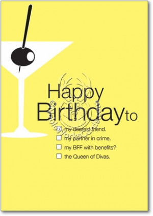 Drinking Partner Queen Of Divas Hilarious Picture Birthday Card