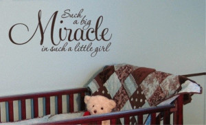 ... Quote Vinyl Miracle Little Girl Wall Quote Nursery Baby Decor Decal