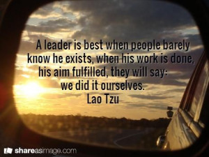 Powerful #leadership quote by Lao Tzu