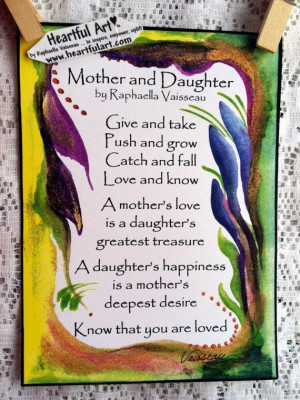MOTHER DAUGHTER POEM 5x7 Quotation Words Family Wall Sayings Heartful ...