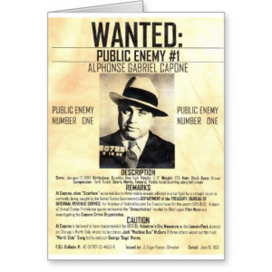 Al Capone Public Enemy Card