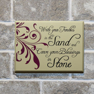Write your troubles in the sand wood quote by DistinctlyInspired, $24 ...