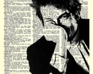 Bob Dylan - Print on Vintage repurposed paper - Dictionary Print ...