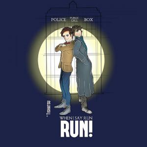 & Dr. Who, When I say run, RUN! Quote, spotlight, phone box, classic ...