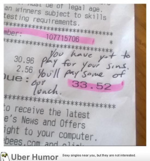 Homosexual co-worker receives this on her ticket from a customer.
