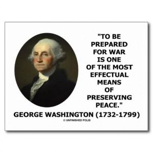 George Washington Preparing For War Peace Quote Postcard