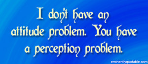 don't have an attitude problem. You have a perception problem.