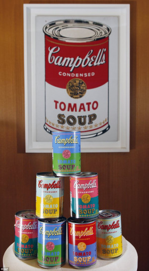edition range of Campbell's tomato soup cans with art and sayings ...