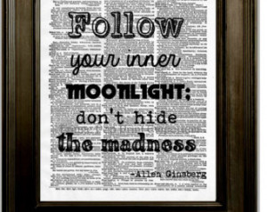Allen Ginsberg Quote Art Print 8 x 10 Dictionary Page - Follow Your ...