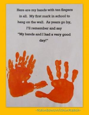 Handprint poem for preschool,(or use it for handprint for kindergarten ...