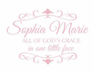 All of God's Grace in One Little Face Vinyl Wall Decal - Personalized ...