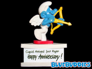 Cupid Arrived Just Right - Happy Anniversary Smurf-A-Gram