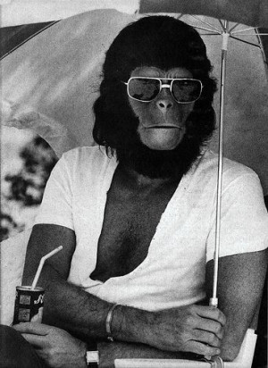 Roddy McDowall on the set of Planet of the Apes.: Planets, Behind The ...