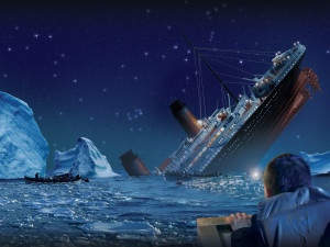 The ship goes down by hitting the iceberg