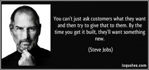 ... By the time you get it built, they'll want something new. - Steve Jobs