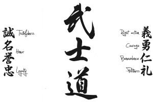 ... los kanjis de Bushido en el centro. Fuente: Bushido-Le-Samurai