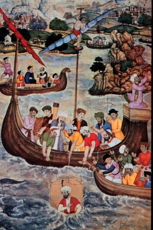 Alexandre le Grand dans sa columpha (peinture du XVI ème siècle)
