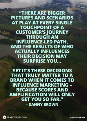... actually influences decisions may surprise you -Quote by Danny Brown