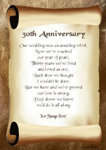 30th Anniversary Personalised Poem Gift Print